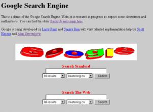 Googles hemsida och logotyp 1997