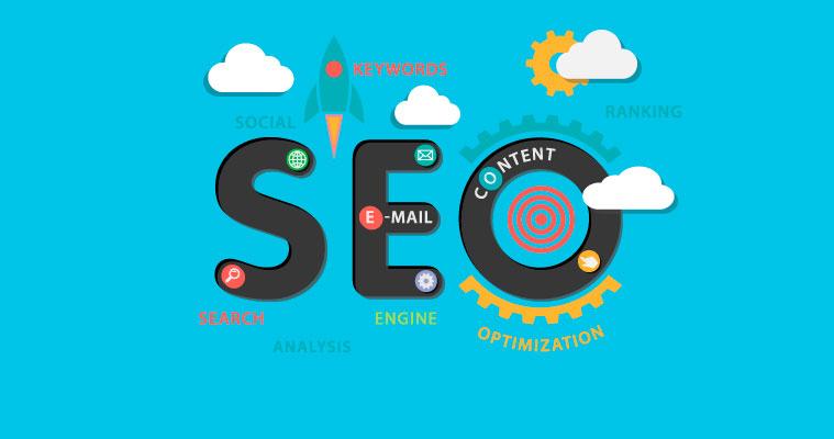 Några av beståndsdelarna i internetmarknadsföring - SEO, sociala media, e-post och content
